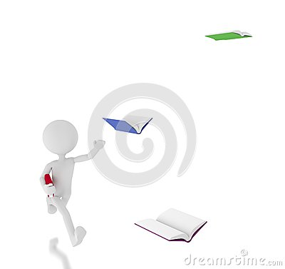 3d person chasing flying books