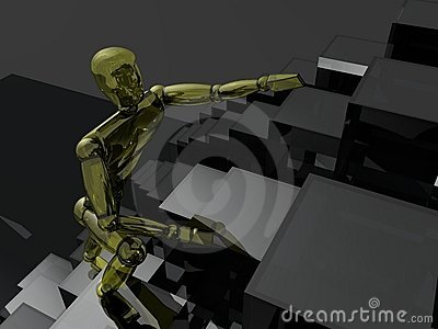 3D person climbing upstairs