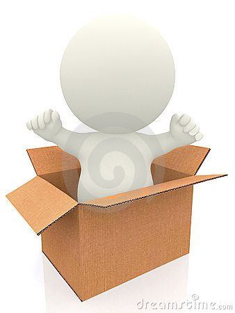 3D person coming out of a box