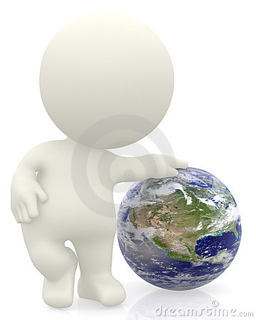 3D person with the Earth