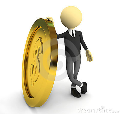 3d person with gold coin