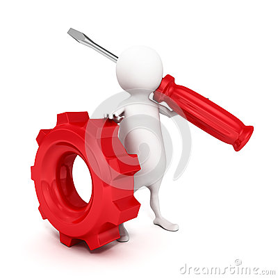 Free 3d Person Holding A Red Screwdriver And Gear Royalty Free Stock Photo - 40362405