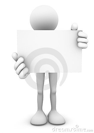 3D Person Holding Blank Card