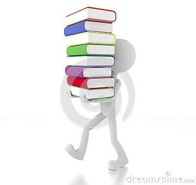 3d person holding many books