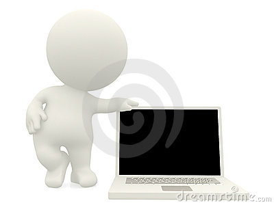 3D person with laptop