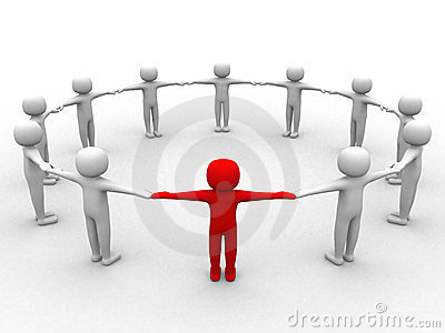 3d person, leadership and people in circle