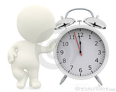 3D person leaning on a clock