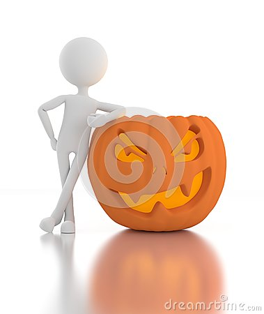 3d person leans on Jack O Lanterns