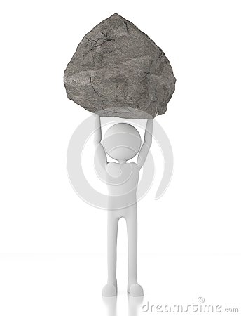 3d person lifts a heavy rock with no effort