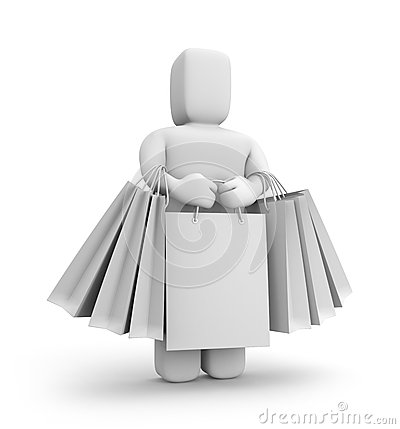 3d person with lot of shopping bags