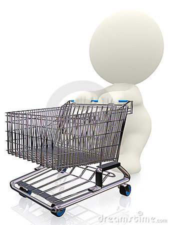3D person pushing a trolley