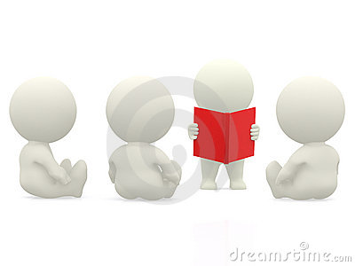 3D person reading to others