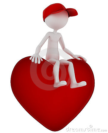 3d person sitting on heart shape