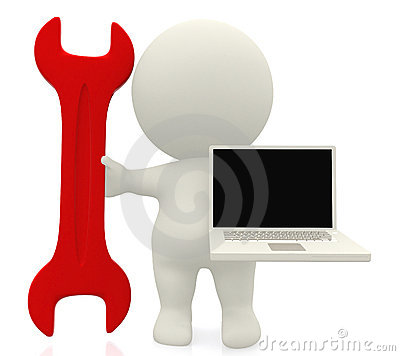 3D person with a spanner and a laptop