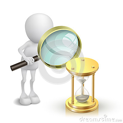 Free 3d Person Watching A Hourglass With A Magnifying Glass Royalty Free Stock Photos - 36750988