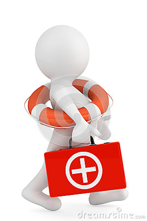 Free 3d Person With Lifebuoy Ring And First Aid Box Royalty Free Stock Photo - 31331555