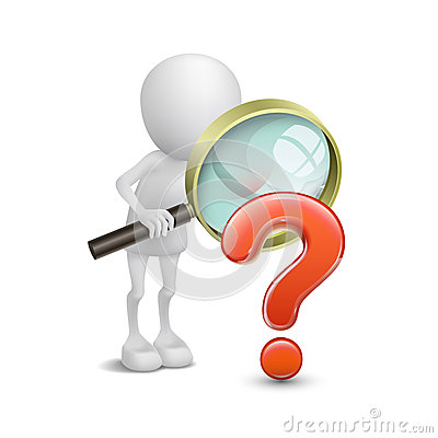 Free 3d Person With Magnifying Glass And Question Mark Stock Images - 36750844