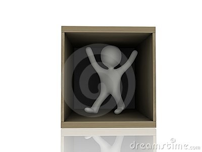 3d person in wooden box