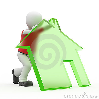 Free 3d Personage And House. Royalty Free Stock Photography - 9428337