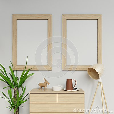 Free 3d Photorealistic Home Interior Render Of Two A1 Poster Mockup Design Template With Vertical Wooden Frame Hanging On The Clean Stock Photo - 137800750