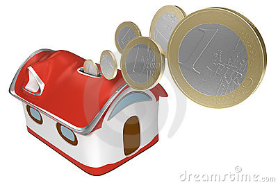3d Piggybank house with euro coins isolated icon