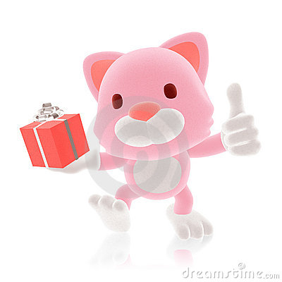 3d pink cat giving