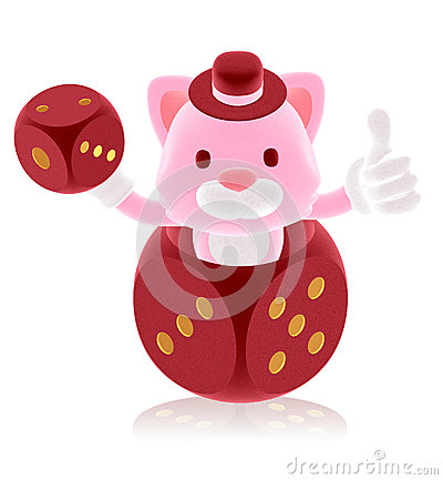 3d pink cat showing in the red dice