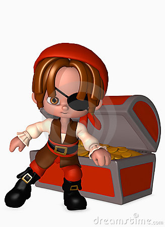3d pirate boy with treasure chest