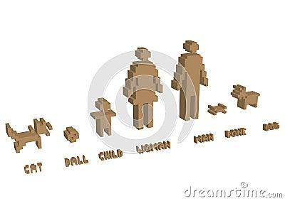 3d pixel silhouette family