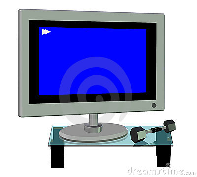 3D of a Plasma Tv and a Dumbell