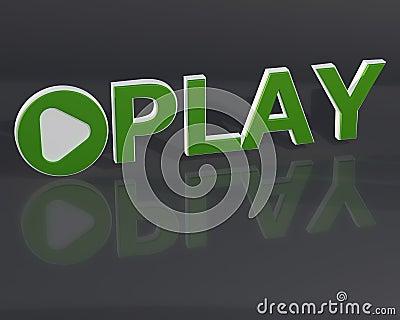 3d Play form on dark background