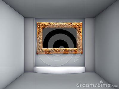 3d podium and ornate frame for exhibit