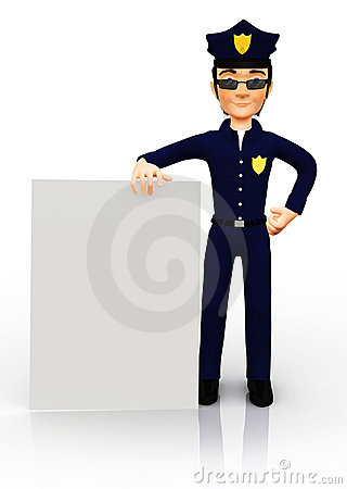 3D policeman with a banner