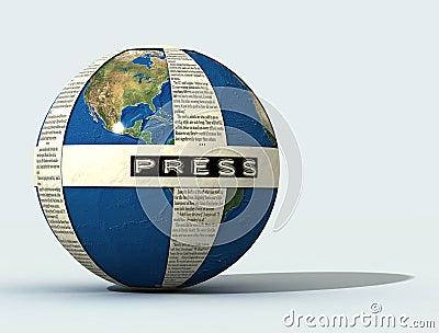 3d  Press globe