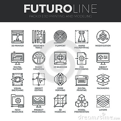 Free 3D Printing Futuro Line Icons Set Royalty Free Stock Images - 62806429