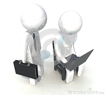 3d programmer and businessman on white background