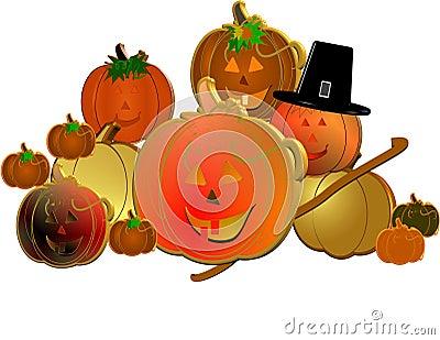 3d pumpkins with pilgrims hat