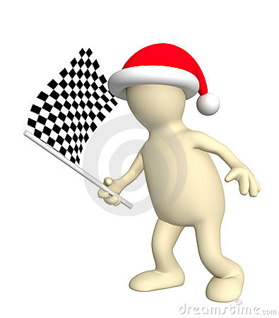 3d puppet with checkered flag
