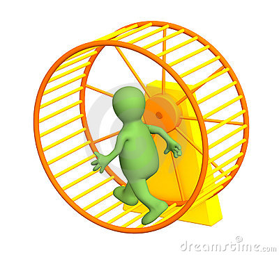 Free 3d Puppet, Running Inside A Wheel Stock Photography - 7310042