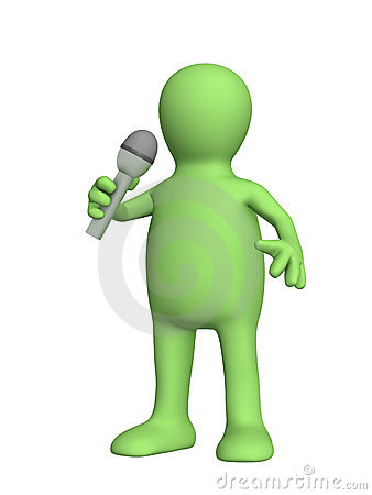 3d puppet, singing with a microphone