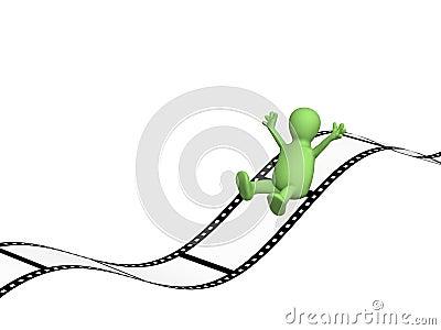 3d puppet sliding on photographic film