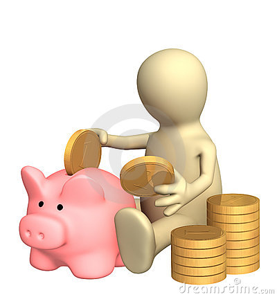 Free 3d Puppet Who Is Saving Money In Piggy Bank Stock Images - 6948454