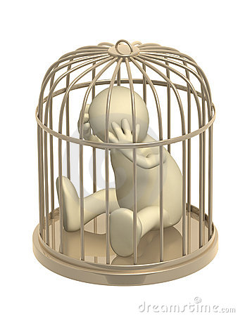 3d puppet, worth in a gold cage