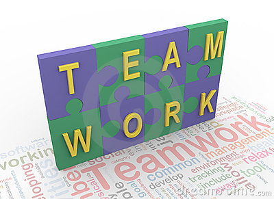 3d puzzle peaces with text  teamwork