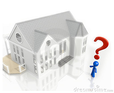 3d Question Mark and Blue Man House Purchase