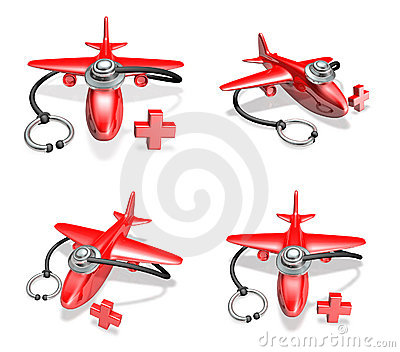 3d red airplane and stethoscope array