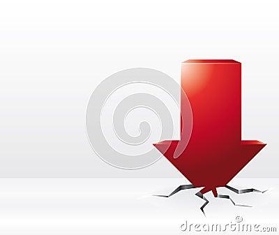 3D red arrow crash