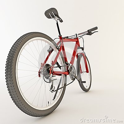 3d red bicycle.