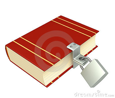 3d red book, closed on the lock