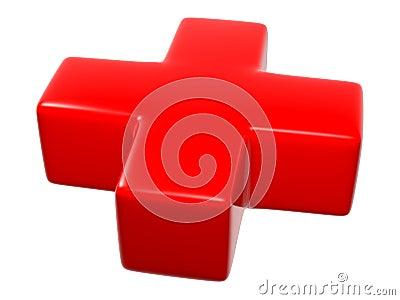 3D Red Cross Symbol Sign